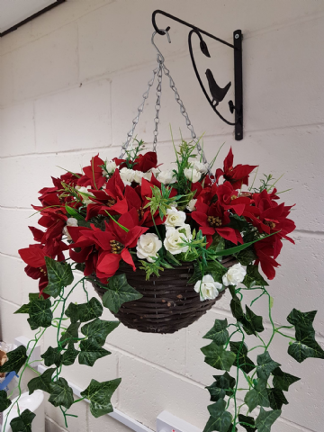 Rose & Poinsettia Christmas Hanging Basket - White Handmade